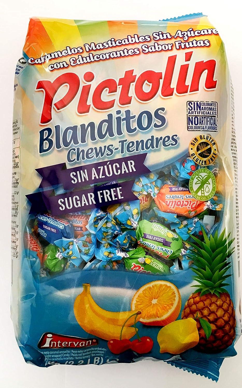 Pictolin Blanditos Sin Azúcar Masticables Sabores (Cereza, Limón, Piña, Naranja y Plátano) Bolsa 1 kg