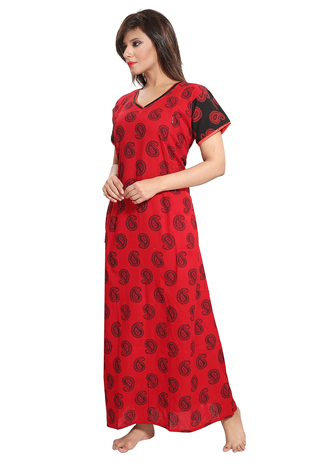 0428ddc578 TUCUTE Women s Beautiful Botty Print Cotton Feeding Maternity Nursing  Nighty Nightwear with Pocket   Invisible Zip (Red 1642)  Amazon.in   Clothing   ...