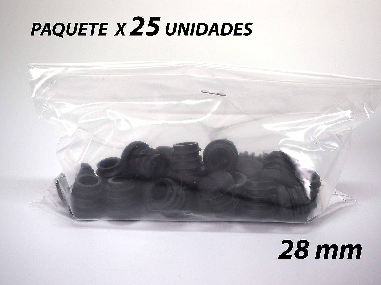 Sanfor 75061 Paquete 25 Contera Redonda Interior estriada 28mm NEGRO