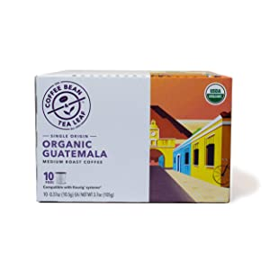 Coffee Bean & Tea Leaf Organic Guatemala Medium Roast Single Serve Kcups (10 Ct) for Keurig Compatible Single Serve Machines