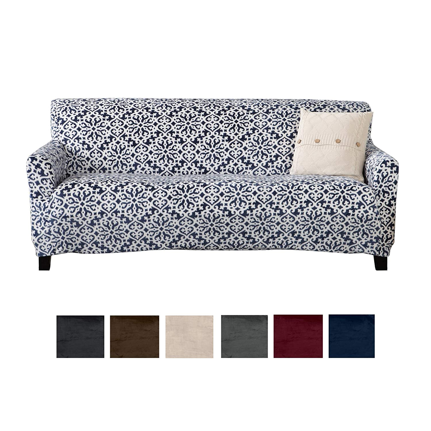 Great Bay Home Modern Velvet Plush Strapless Slipcover. Form Fit Stretch, Stylish Furniture Cover/Protector. Gale Collection Brand. (Sofa, Snowflake - Dark Denim Blue)