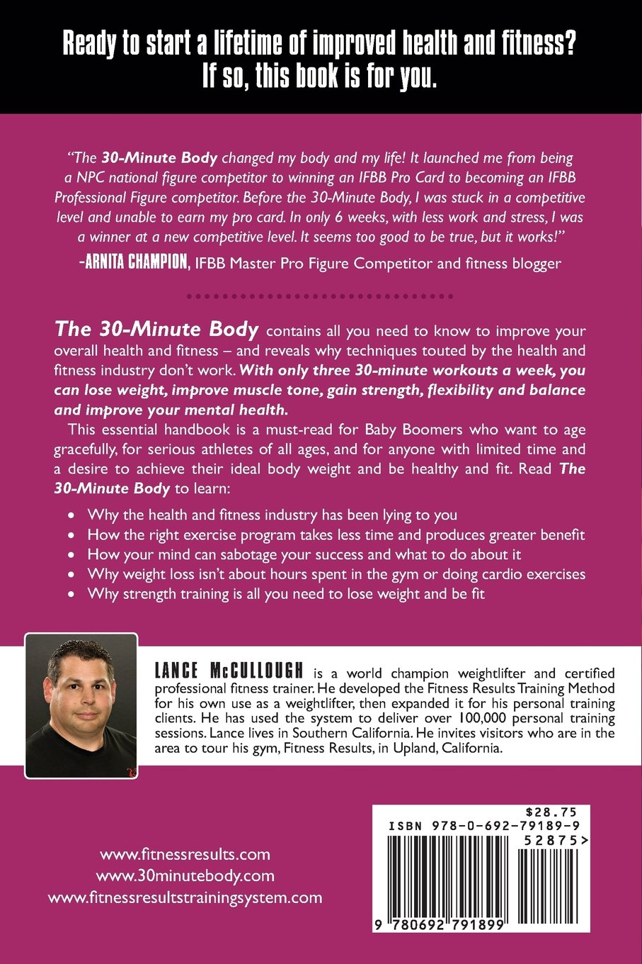 30 minute body small investment big results world champion 30 minute body small investment big results world champion personal training secrets revealed lance d mccullough 9780692791899 amazon books 1betcityfo Choice Image