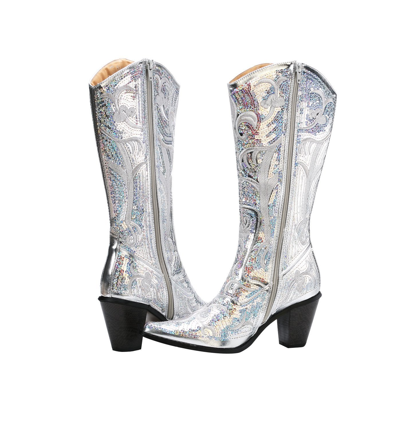 Helens Heart Bling Boots B00MC8F364 10 M US|Silver