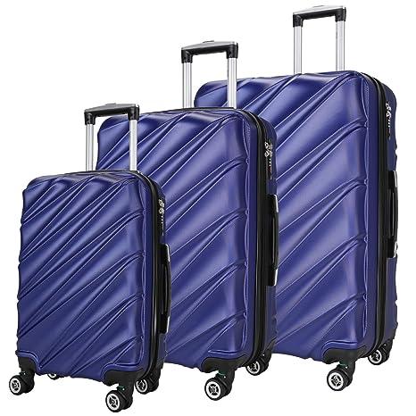 SHAIK Valigia Trolley Set 3 Pezzi – Capacità 40 78 124 Litri - Bagaglio a1429e92d29