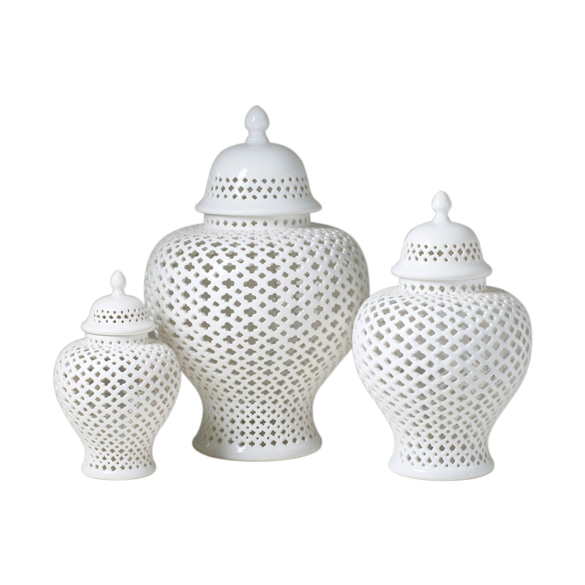 Legends of Asia Asian Traditional Chinese White Lattice Ginger Jar with Lid (Medium) by Legends of Asia (Image #1)
