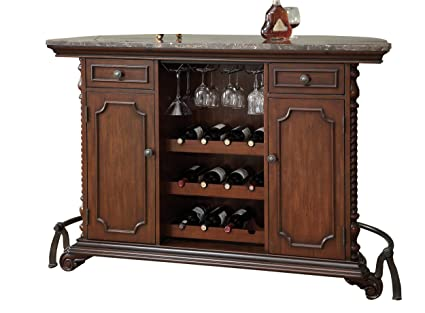 Amazon.com: Coaster Traditional Bar Unit with Marble Top: Kitchen ...