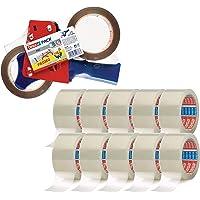 tesa Pakketplakband (66 m x 50 mm) transparant (10 rollen + handafroller set)