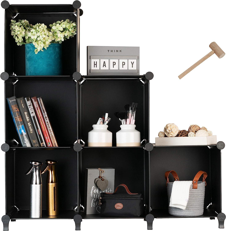 Cube Storage System (6 Cubes) – Modular DIY 6-Cube Plastic Closet Organizer Rack, Storage Shelves, Bookshelf, Bookcase for Bedroom, Office, Dorm Room, College, Living Room - Black