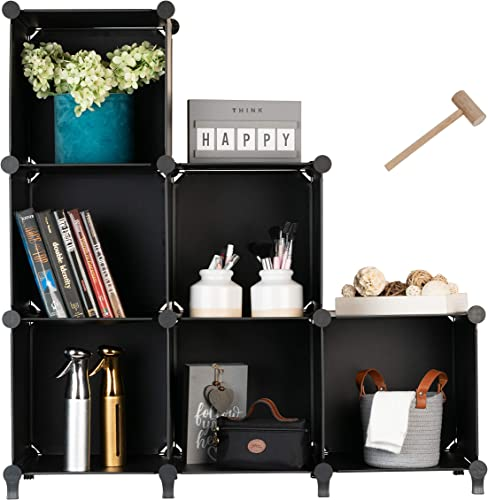 Homeries Cube Storage System 6 Cubes Modular DIY 6-Cube Plastic Closet Organizer Rack, Storage Shelves, Bookshelf, Bookcase for Bedroom, Office, Dorm Room, College, Living Room – Black