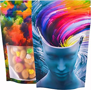 50 PACK | BEST Designs | Smell Proof Mylar Bags | 4x6 inch Stand-up Resealable Foil Ziplock Custom Bags with Clear Viewing Window Food Safe (4x6 in., Abstract Mind)