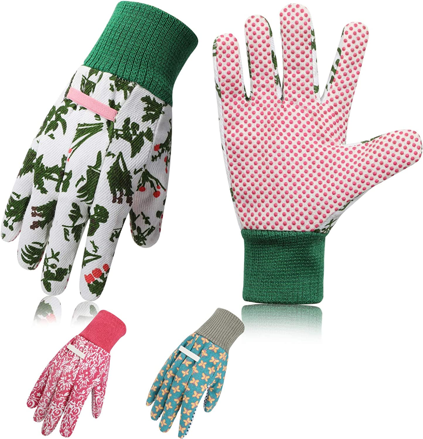 Garden Gloves Women,3 Pairs Breathable Anti-slip Floral Printed Gardening Work Gloves with PVC Dots for Planting and Work