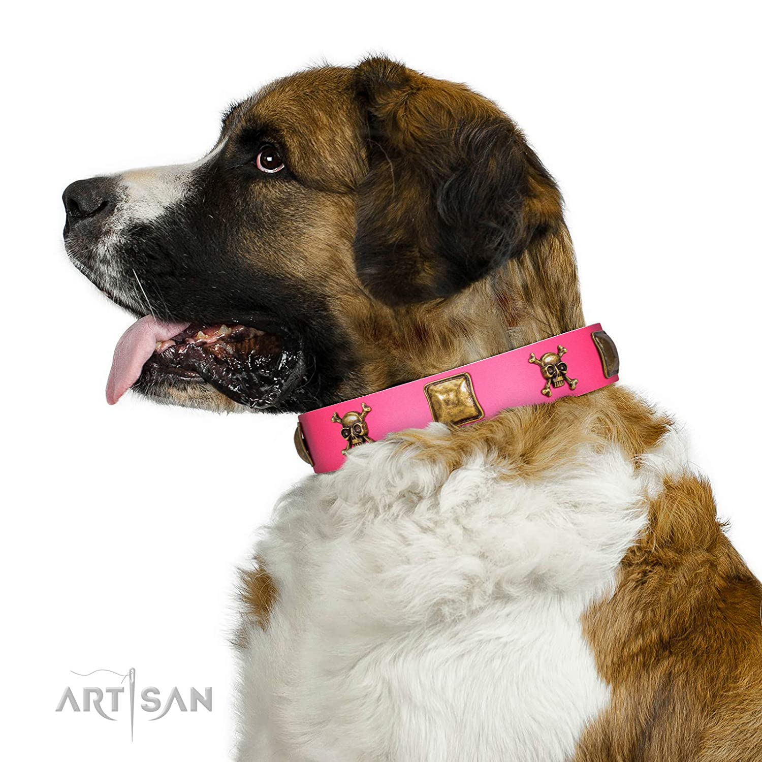 Fits for 21 inch (53cm) dog's neck size FDT Artisan 16 inch Pink Leather Dog Collar with Skulls and Crossboned Combined with Massive Plates Wild Box Included