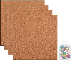 Lawei 4 Pack Cork Tile Board - 12 x 12 Inch Bulletin Board 1/2