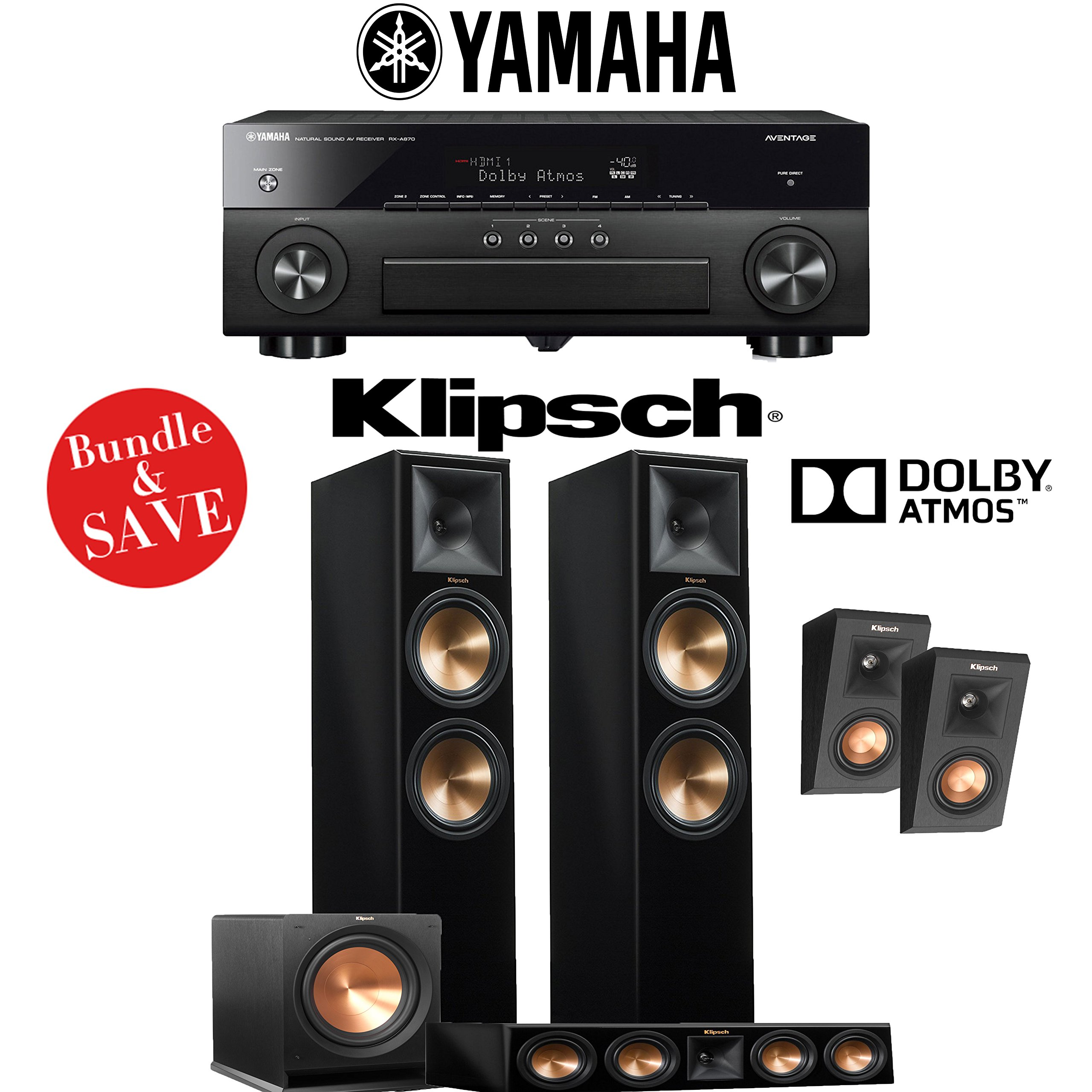 Klipsch RP-280F 3.1.2-Ch Reference Premiere Dolby Atmos Home Theater System (Piano Black) with Yamaha AVENTAGE RX-A870BL 7.2-Channel Network A/V Receiver by Klipsch