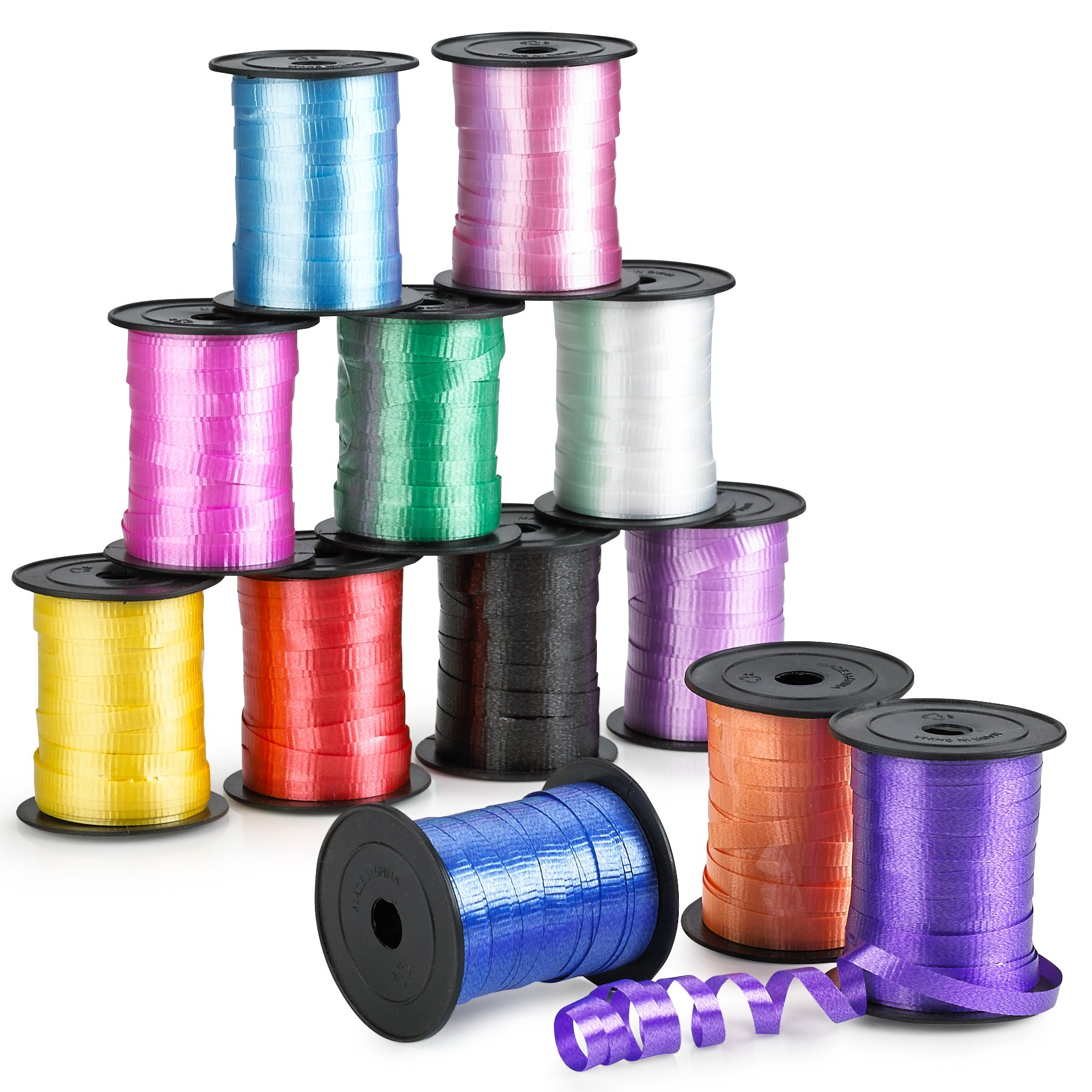 Kidsco Curling Ribbon - Colorful Assorted- 12 Pack- for Florist, Flowers, Arts & Crafts, Gift Wrapping, Hair, School, Girls, Etc.