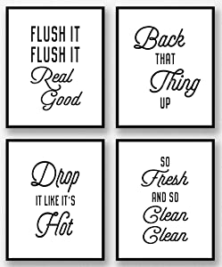 Brooke & Vine Funny Bathroom Decor Wall Art Prints, Restroom Powder Room Wash Laundry Room Hip Hop Wall Decor Signs Posters (Set of 4 Unframed - 8 x 10) Flush It, So Fresh (Hip Hop Bathroom - White)