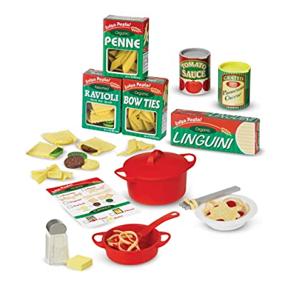 "Melissa & Doug Prepare & Serve Pasta (Pretend Play, Felt Kitchen Set, Easy to Use, 50+ Piece Set, 10"" H x 9"" W x 3"" L, Great Gift for Girls and Boys - Best for 3, 4, 5 Year Olds and Up): Toy: Toys & Games"