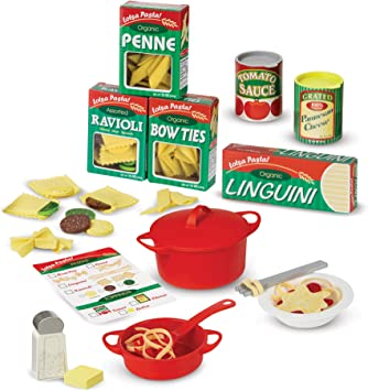 Melissa Doug Prepare Serve Pasta Pretend Play Felt Kitchen Set Easy To Use 50 Piece Set 10 H X 9 W X 3 L Great Gift For Girls And Boys