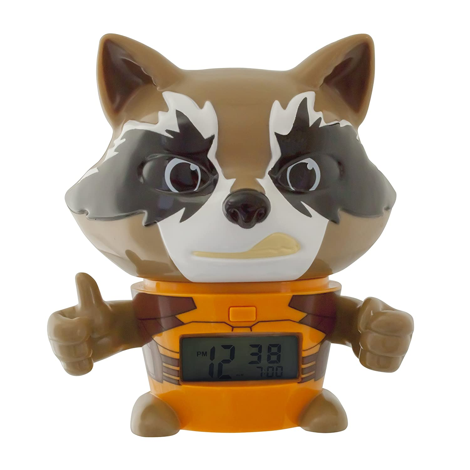 BulbBotz Marvel 2021357 Guardians of the Galaxy Vol.2 Rocket Raccoon Kids Night Light Alarm Clock with Characterised Sound | brown/orange| plastic | 5.5 inches tall | LCD display | boy girl | official Accessory Consumer Accessories