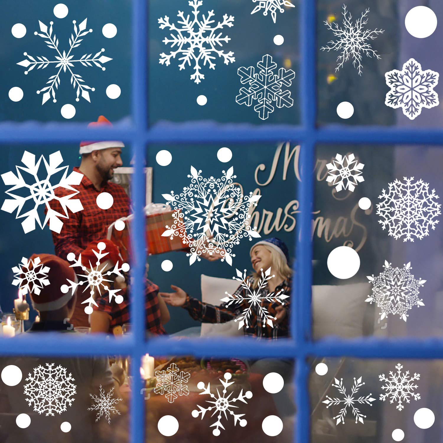 320 PC 12 Sheet R HORSE Christmas Decoration Snowflakes Window Clings PVC Winter Decal Stickers for Christmas Winter Ornaments Xmas Party Stickers Snowflakes//Baubles//bells//trees//reindeer Included