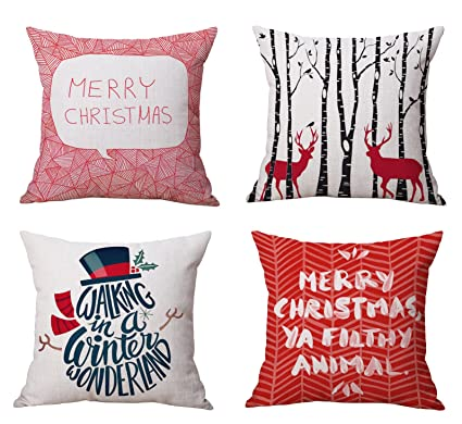 bluettek vibrant red christmas throw pillow covers set of 4 accent pillow cases 18x18 inch - Christmas Decorative Pillow Covers