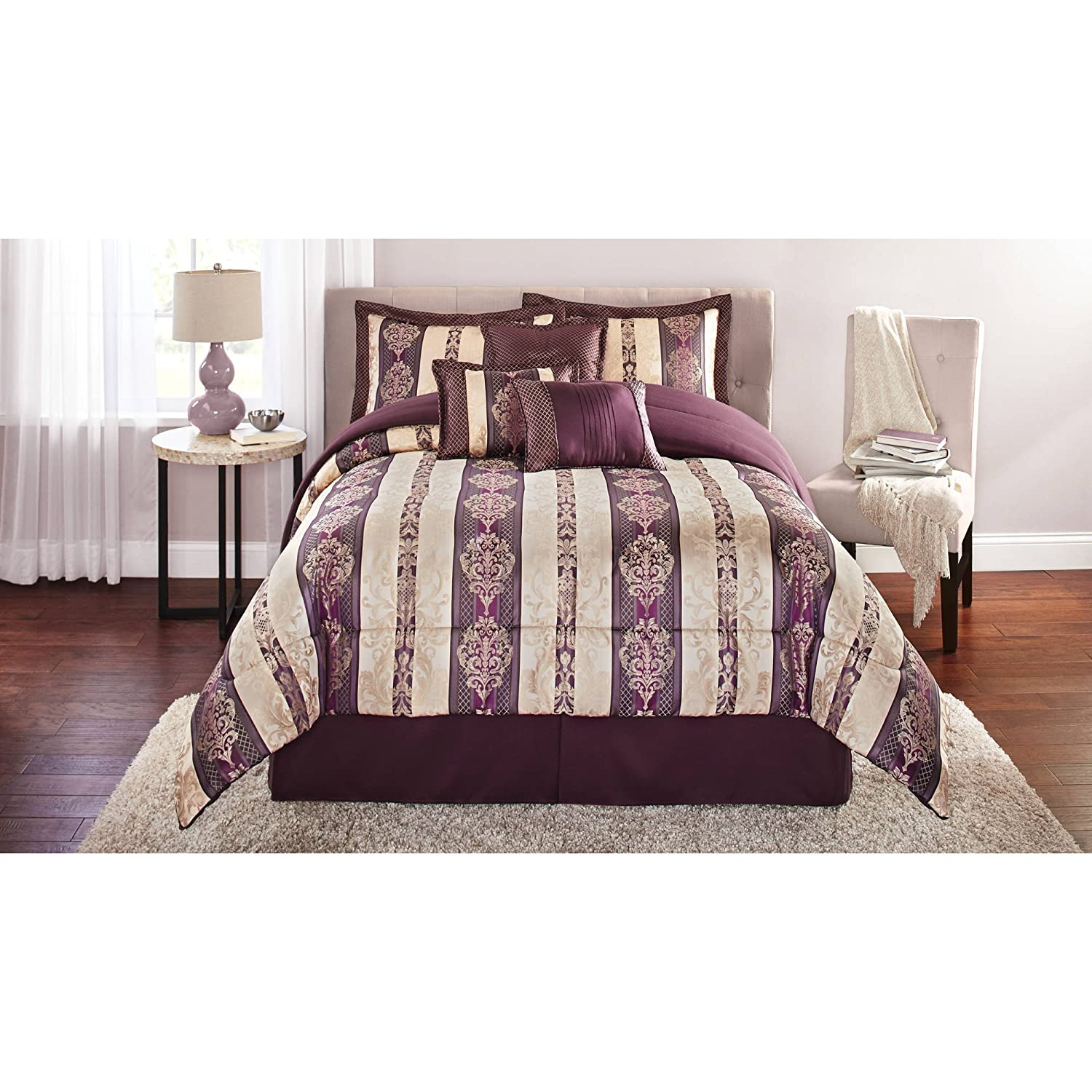 Mainstays Adelaide 7-Piece Damask Embroidered Bedding Comforter Set, Full/Queen