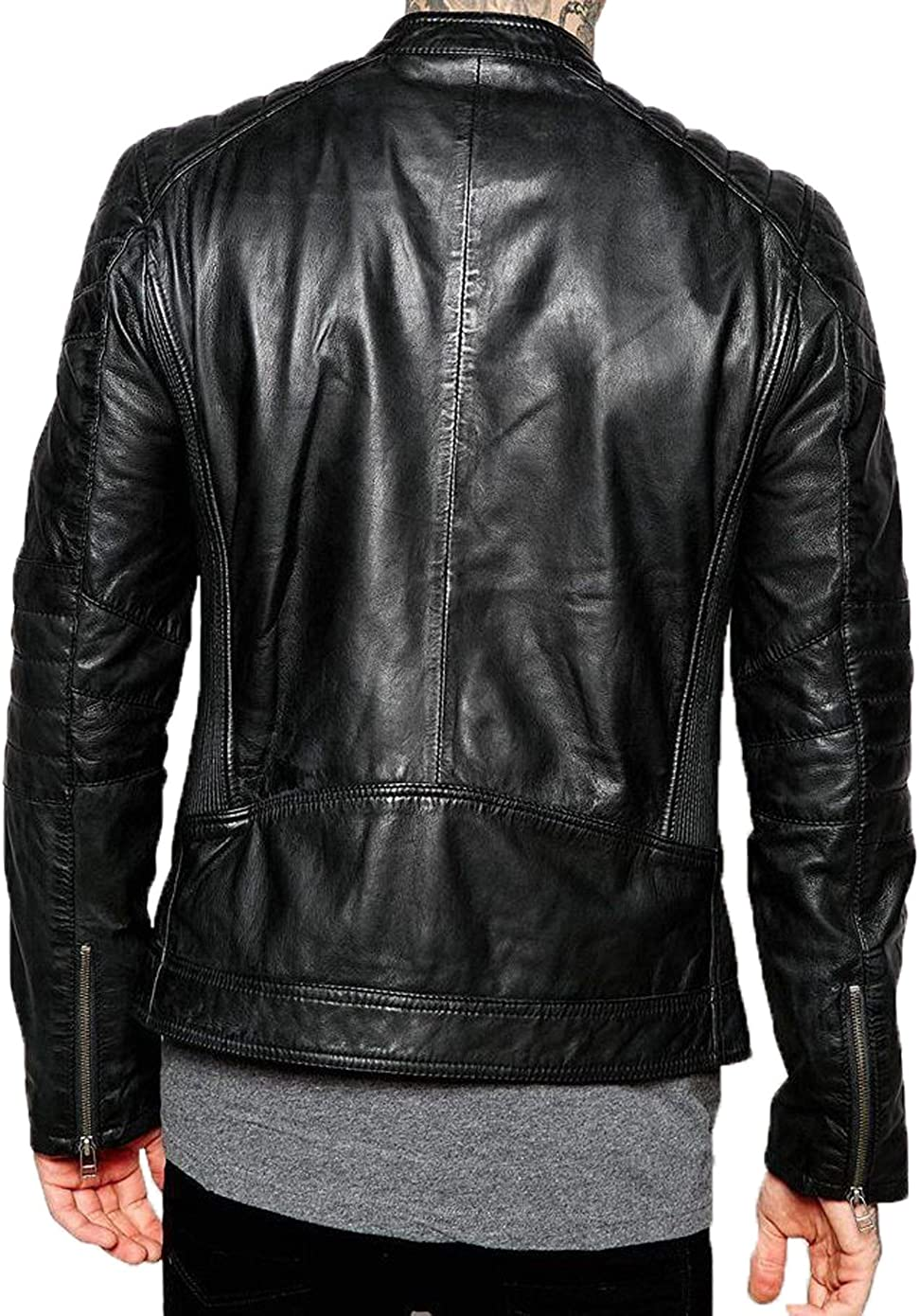 Kingdom Leather New Men Designer Genuine Lambskin Soft Biker Leather Jacket X975