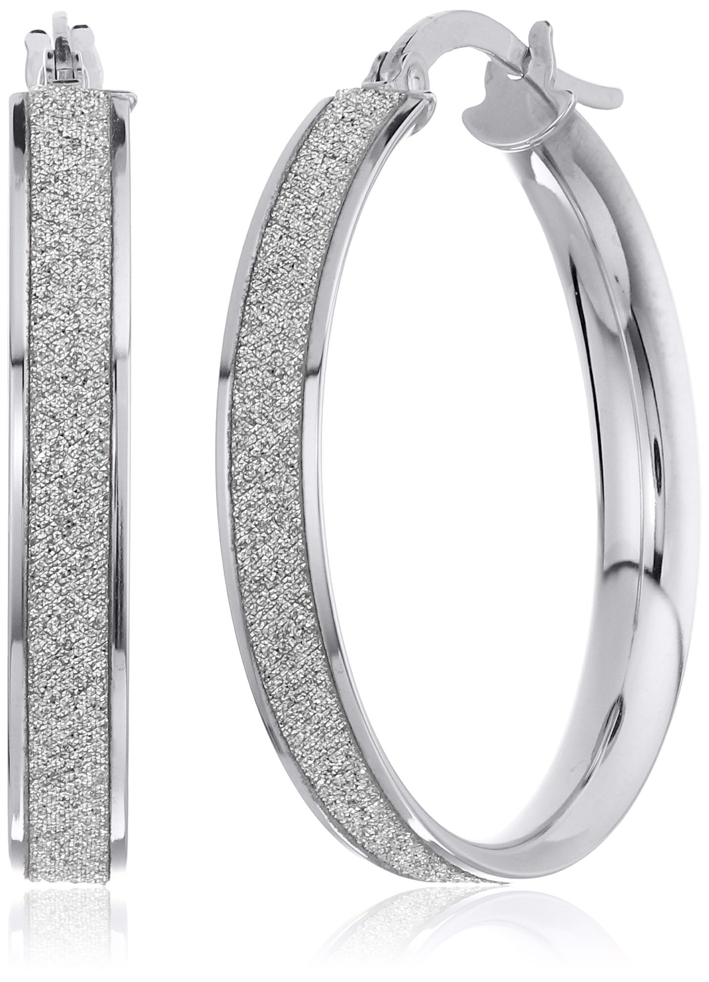 14k White Gold Italian 20 mm Hoop Earrings with Pave Style Glitter Hoop Earrings