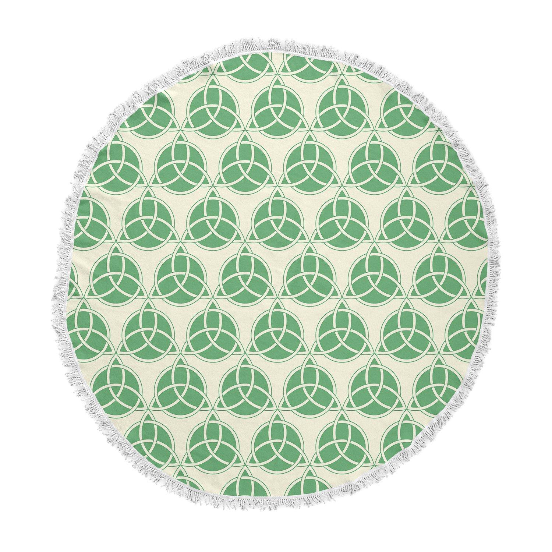 Kess InHouse Kess Original Celtic-Pattern Green Beige Round Beach Towel Blanket