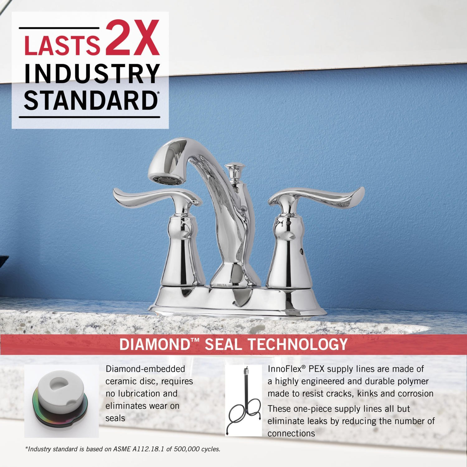 Delta Linden 2-Handle Centerset Bathroom Faucet with Diamond Seal Technology and Metal Drain Assembly, Chrome 2594-MPU-DST by DELTA FAUCET (Image #3)