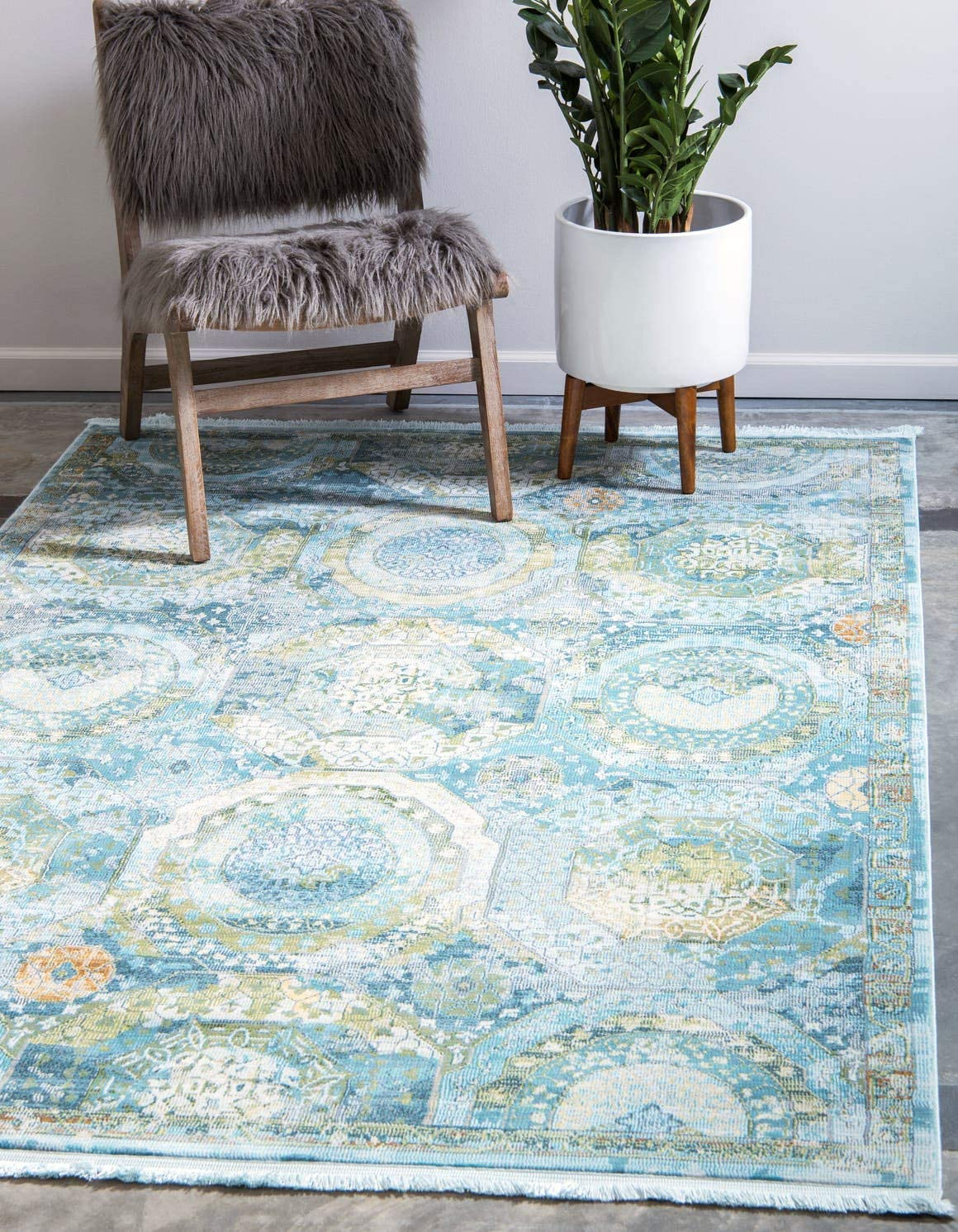 Unique Loom Baracoa Collection Bright Tones Vintage Traditional Light Blue Area Rug 8 4 x 10 0