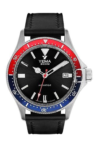 Yema Pro Diver YMHF1554-AA - Reloj para hombre (pulsera de cuero negro liso