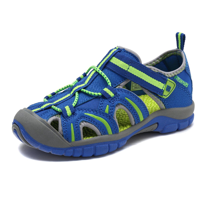 DREAM PAIRS Little Kid 171112-K Navy NEON Green Outdoor Summer Sandals Size 2 M US Little Kid