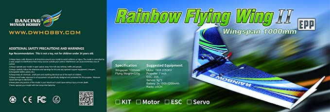 Amazon.com: DW Hobby EPP Electric Micro Flying Wing Rainbow ZAGI Plane w/1000mm Wingspan Delta Wing Tail-Pusher Flying Aircraft for Toy Plane Model ...