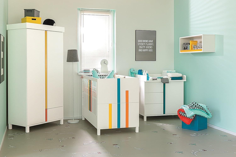 Babyzimmer Kinderzimmer Rainbow Weiß Komplettset Bett Schrank