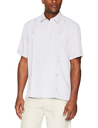 6fff475709 Cubavera Men s Short Sleeve Cuban Camp Shirt with Contrast Insert Panels