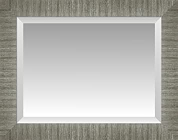 Amazoncom Wide Brushed Nickel Silver Beveled Wall Mirror Size 33