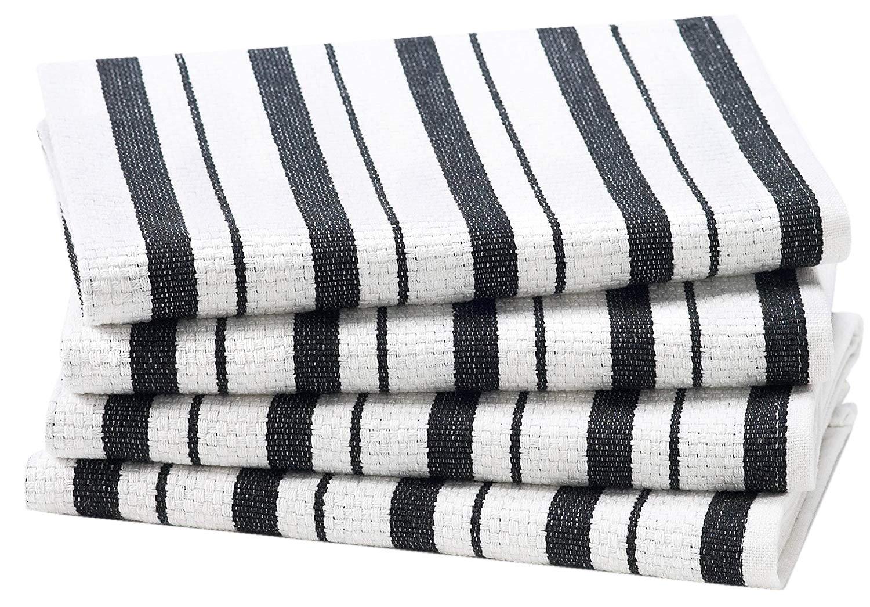 Cotton Craft - 4 Pack - Basket Weave Kitchen Towels - Black - 100% Cotton - Oversized 20x30 - Modern Clean Striped Pattern - Convenient Hanging Loop