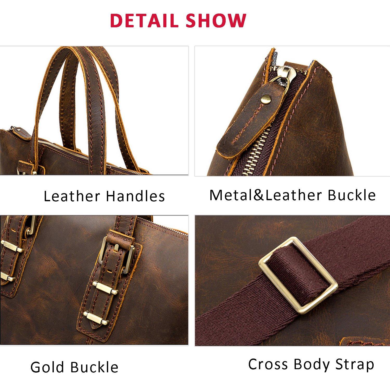 ALTOSY Leather Messenger Bag Crazy Horse Leather Cross Body Shoulder Bag 8086 light brown