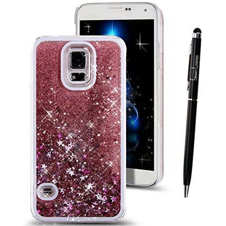 Funda para Samsung Galaxy S5 Neo , SMART LEGEND Dual Layer 3D Líquido Glitter Glitter Shiny Gloss Sparkle Clear Dynamic Quicksand Case Cover Skin ...