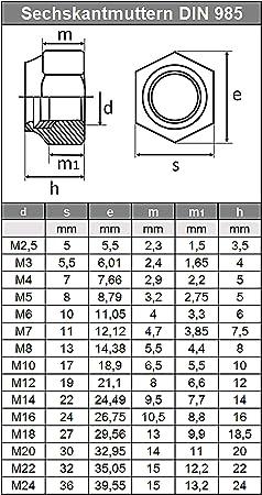 M10 M12 M14 M16 M20 M24 Nyloc Dadi di Bloccaggio tipo T A2 Acciaio Inossidabile DIN982