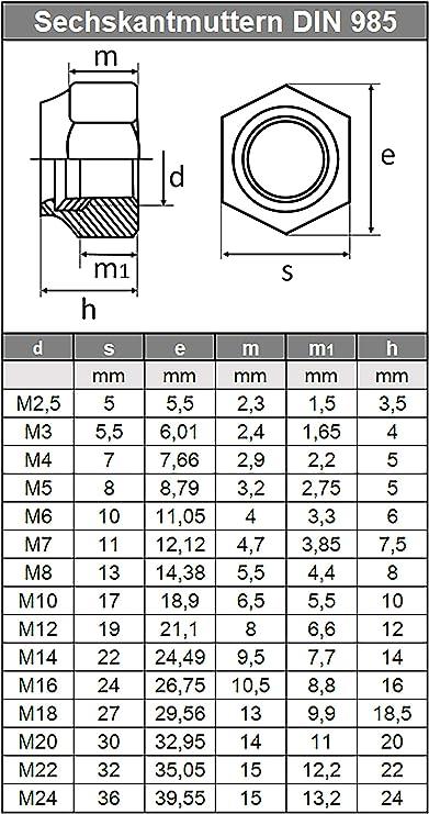Sicherungsmuttern M14 DIN 985 10 St/ück Verzinkt Festigkeit 8 Klemmmuttern Stopmuttern
