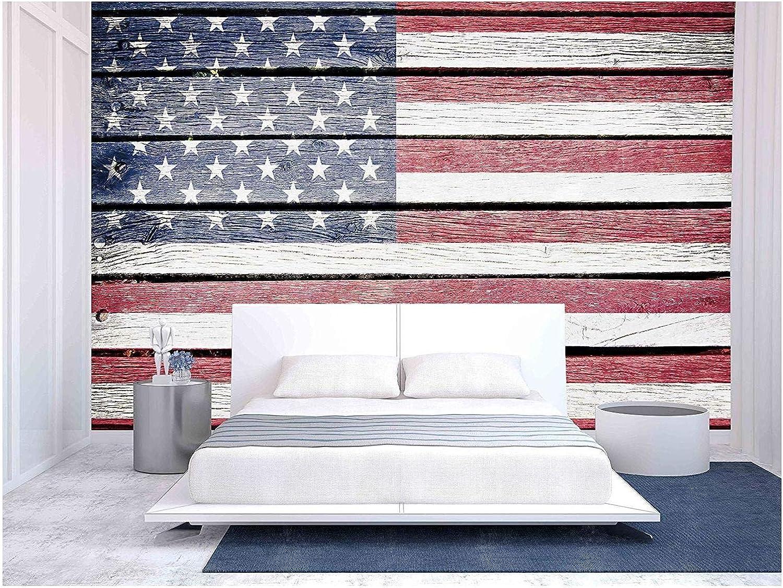 Amazon Com Wall26 Usa American Flag Painted On Old Wood Plank