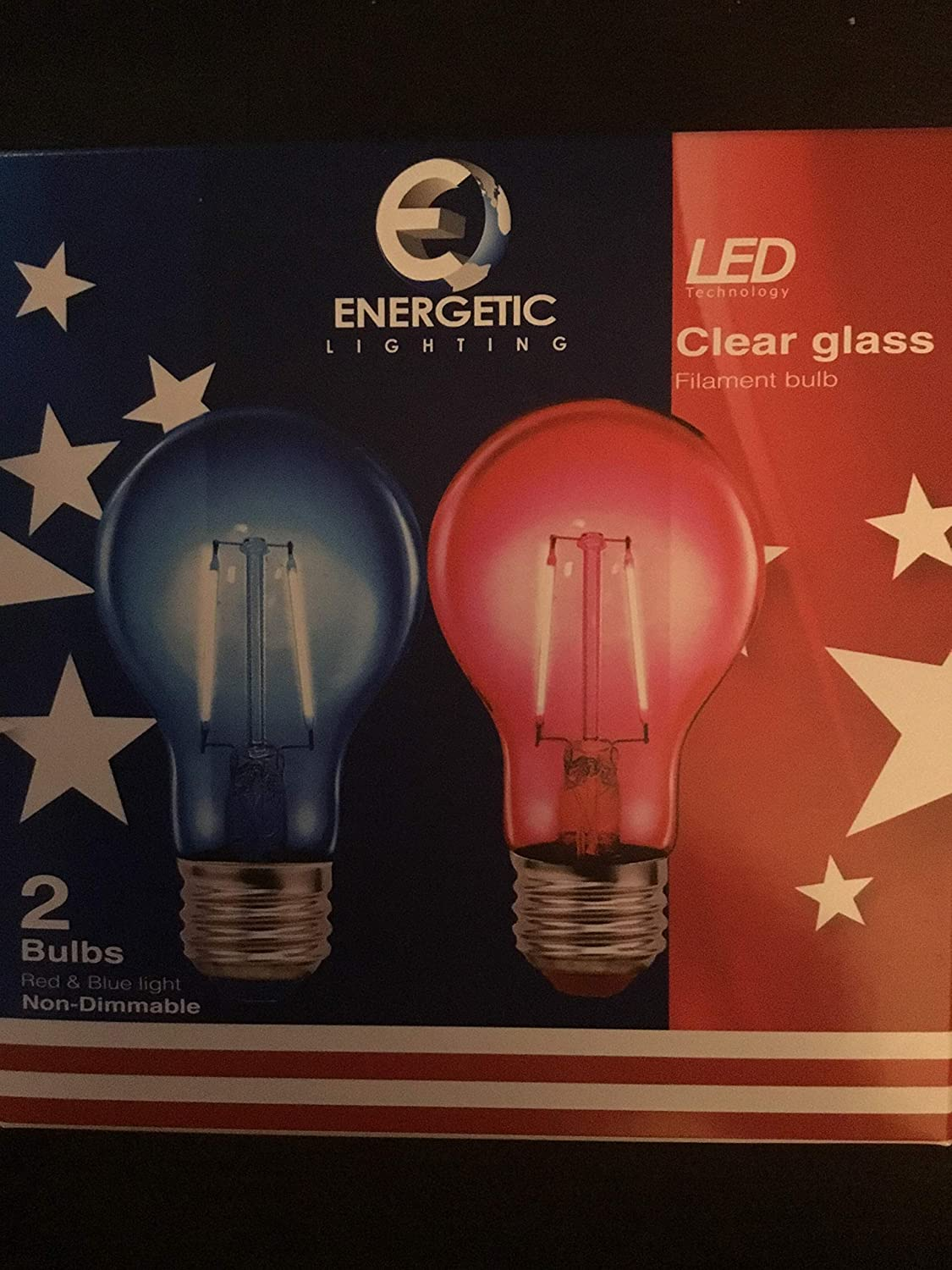 2 Blue Energetic Red /& Blue 4th of July Party LED Light Bulbs Non Dimable Regular Base 2 Sets of 2 Bulbs = 2 red