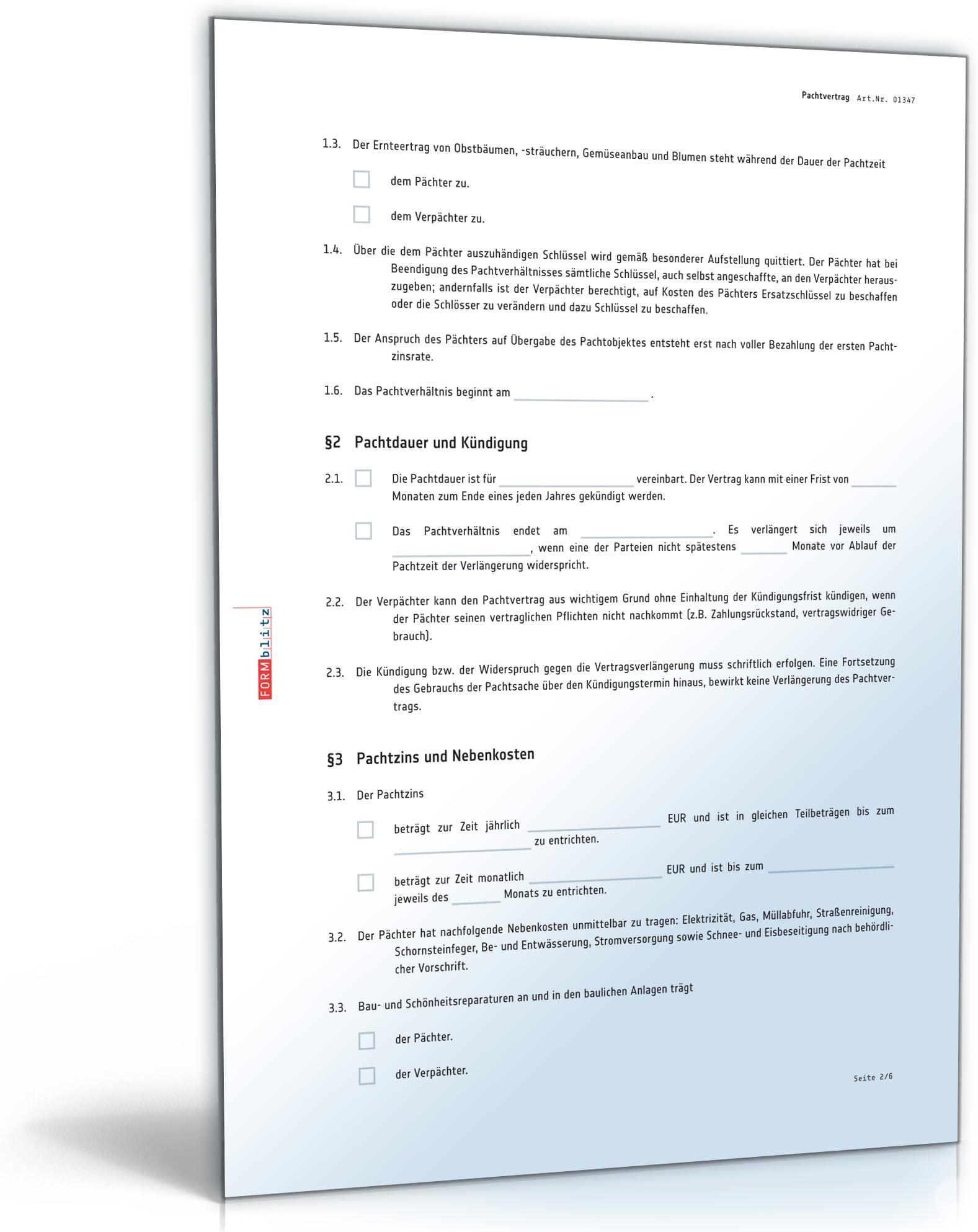 Pachtvertrag Grundstuck Pdf Download Amazon De Software