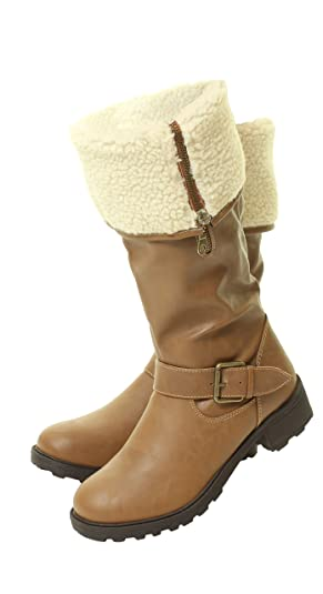 New Womans Camel Brown Fleece Wide Fur Zips Collar Cuff Knee High Calf Boots  Sizes 3 4 5 6 7 8: Amazon.co.uk: Shoes & Bags