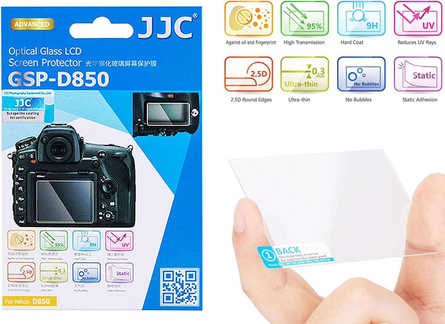 JJC GSP-D7500 0.01 Ultra-Thin Optical Glass LCD Screen Protector for Nikon D7500 9H Water Oil /& Fingerprints Resistant 2.5D Round Edge Nikon D7500 LCD Protector