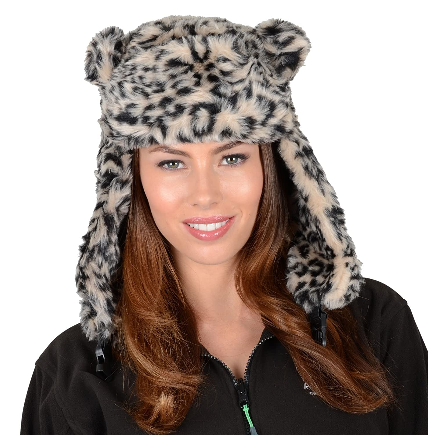 7a074bd29eb Ladies Beige Leopard Print Faux Fur Trapper Hat Ear Flaps   Furry Pom Pom  Ears  Amazon.co.uk  Clothing