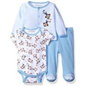 Nannette Baby Boys' 3 Piece Layette Set with Cardigan Creeper and Pant, Blue 0-3M