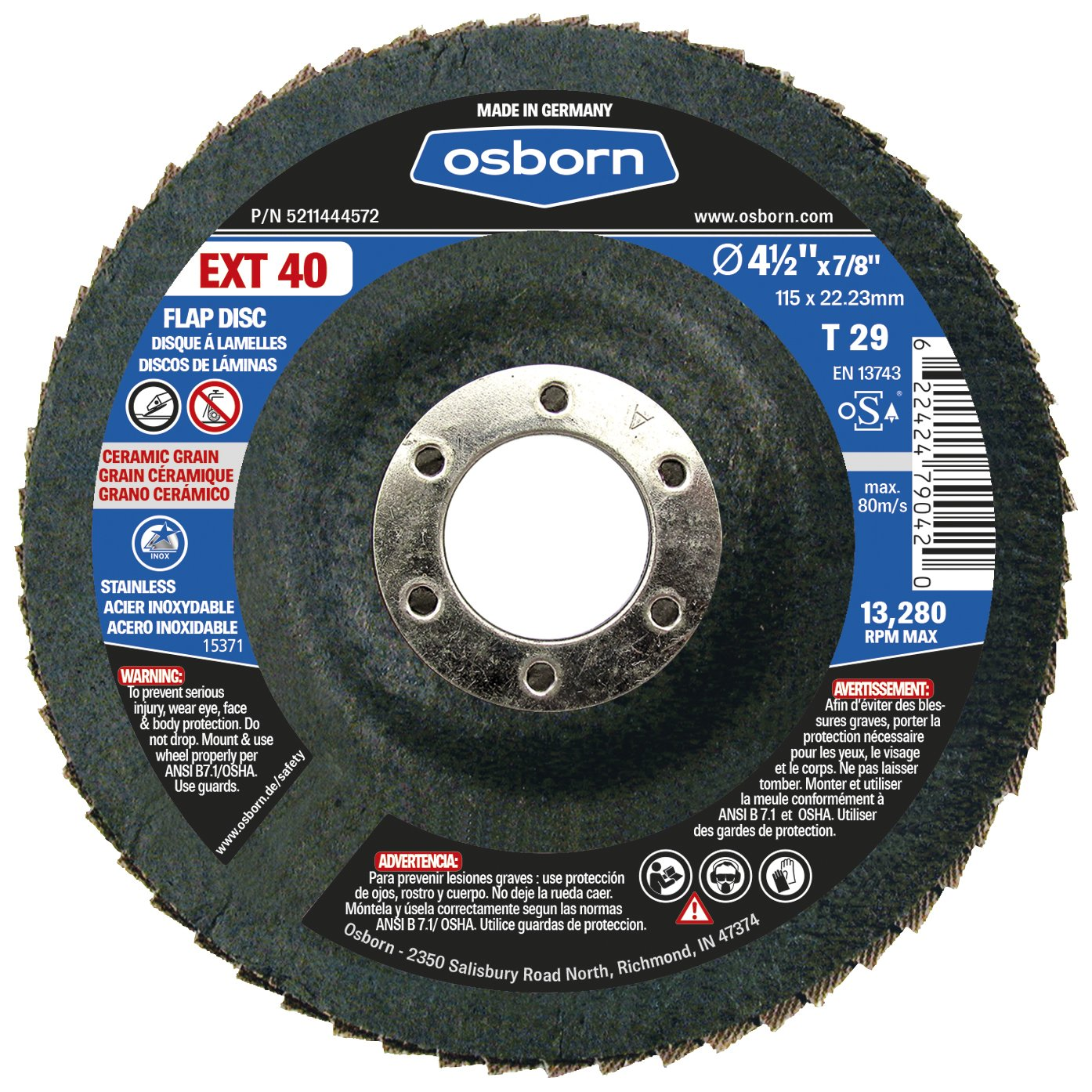4-1//2 x 7//8 4.5 Type Osborn 5211444572 29 Ceramic 40 Grit Flap Disc T29 4-1//2 x 7//8 Pack of 10 EXT 40 Pack of 10 4.5 Type